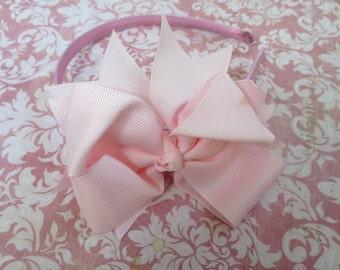 Baby headband, toddler headband, little girl headband, big girl headband, toddler hard headband - Light Pink Bow Headband