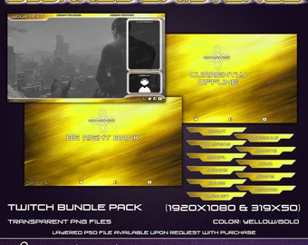 Blurred Existance - Twitch Overlay Bundle Pack - Yellow Gold