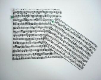 Reusable Zipper Sandwich & Snack Bags Eco Friendly Set of 2 Musical Instruments Symphony Sheet Music OperaPrint sku 1023