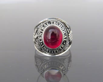 Vintage Sterling Silver Red Ruby 1961 High School Men's Ring Size 9.75