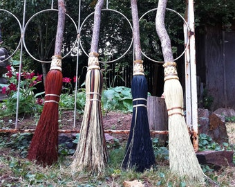 Witch Besom in your choice of Natural, Black, Rust or Mixed Broomcorn - Magical Broomstick - Witch's Broom