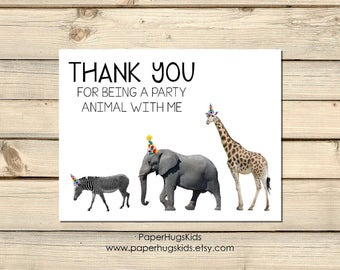 Jungle safari stationery, Jungle safari Note Cards, Personalized Note Cards, Kids Thank You Cards, Party Animal, Kids Note Cards/ Set of 10
