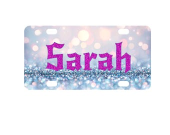 Glitter and Sparkles Mini License Plate-Bike Plate-Kid's Door Sign