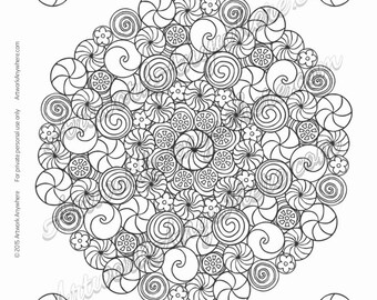 Peppermint Pinwheels Candy Mandala - Adult coloring page printable download from Candy Kaleidoscope Artwork Anywhere ~hand drawn candies~