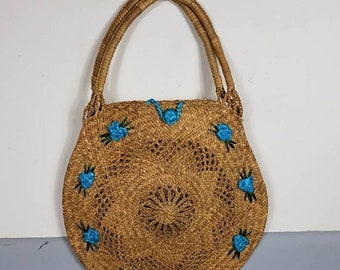 on sale large Vintage Raffia Flower Tote Handbag  Purse ~ TIKI ~MCM beach bag woven Straw blue Flowers