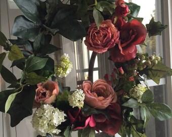 Floral Wreath, Spring Summer Wreath, European Garden