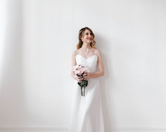 Simple lace wedding dress, bridal gown, lace dress, dress wedding, boho wedding dress