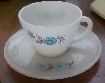Fire King Bonnie Blue cups and saucers with turquoise flowers