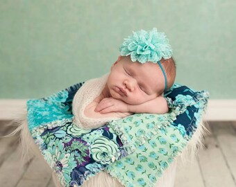 Aqua Flower Headband, Blue Headbands, Newborn Headbands, Blue GIrl Headbands, Blue Flower Headband, Photography Props