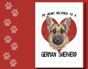 GERMAN SHEPHERD CARD, German Shepherd Greeting Card, German Shepherd Notecard,  German Shepherd Birthday Card