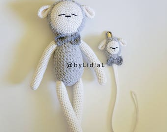 Crochet Sheep Lamb Toy Set Pacifier Clip Holder Baby shower Gift