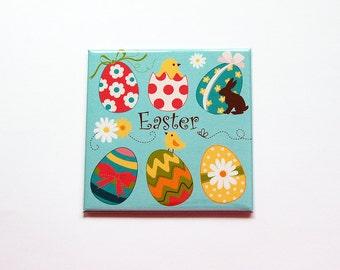 Easter Egg Magnet, Magnet, Fridge magnet, Easter Eggs, Easter basket gift, Easter gift, Hostess gift, Easter Chick, Bright Colors (7396)