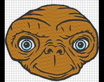Embroidery design - E.T the extraterrestrial (head)
