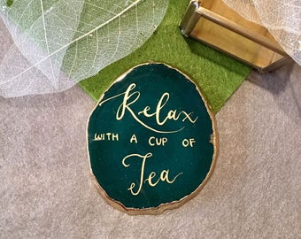 Quote of yours on Agate Coaster (~8cm) with gold rim / Wedding date Agate/ Bridesmaids' Gift