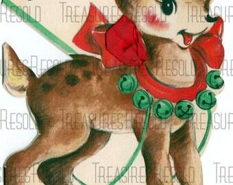 Merry Christmas Deer Sleighbells Christmas Card #536 Digital Download