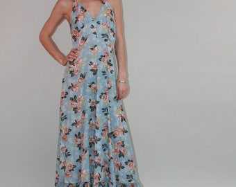 1970s PRAIRIE Hippie Floral Print Halter Maxi Dress SZ Small