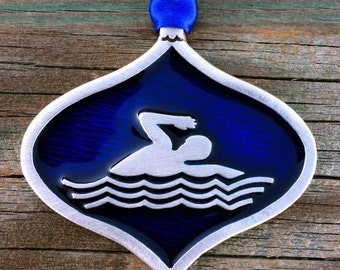 Swimmer Christmas Decoration | Swimmer Gift | Gift For Swimmers | Handcrafted Christmas Ornaments | Fine Pewter by Treasure Cast