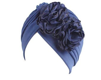 Blue flower  head cap turban Hijab beanie chemo hat