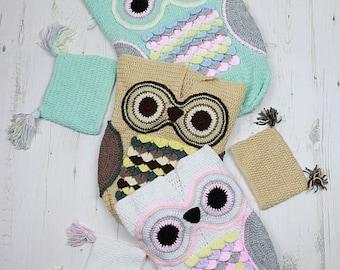 CROCHET PATTERN For Owl Baby Cocoon, Papoose & Hat in 3 Sizes U.K, U.S.A, Deutsch, Francais, Dutch PDF 245 Digital Download