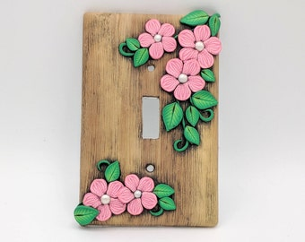 Dusky Pink Flower Switchplate; Single Light Switch Cover; Toggle Switch; Polymer Clay Switch Plate; Style #BPF02