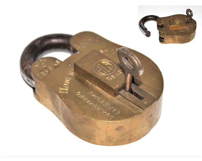 Vintage HLS Brass Padlock with Key