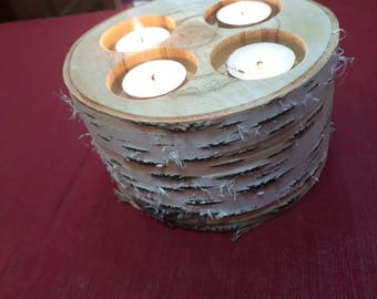 Birch Tea Light Centerpiece