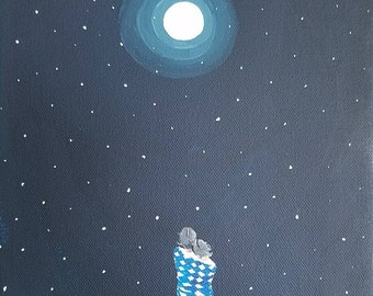 """Blue Moon,  whimsical original acrylic painting on 8"""" x 10"""" x 3/4"""" gallery wrap canvas"""