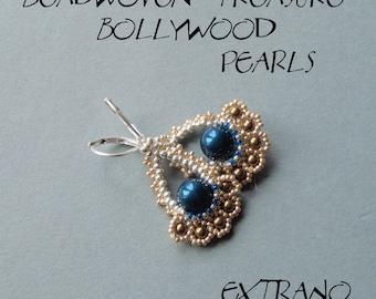 Beaded earrings tutorial, fan shaped earrings, diy jewelry, Bollywood earrings tutorial, PDF pattern - BOLLYWOOD PEARLS  - instant download