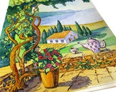 summer landscape  Print, beautiful garden, country house, watercolor villa, cottage drawing,  sea view, beautiful view  Print, Romance, A4