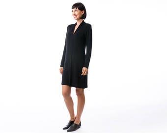 Black mini dress, jersey dress , winter dress, tunic dress,  Long Sleeve Dress, Fashion Dress, Womens Winter Dresses