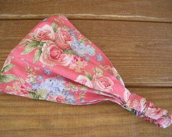 Womens Headband Fabric Headband Women Summer Fashion Accessories Women Head scarf Yoga Headband in Pink with Roses print