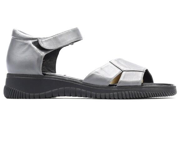 Shoes Vegan Wide PLATFORM size 7 Leather Summer Eur Us 5 5 Sandals 10 41 Sandals Wedges Strap Vintage Fit Sandals Gray Chunky Vegan UK x6w8qvwIA