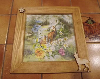 wood frame, flora and fauna of the mountains