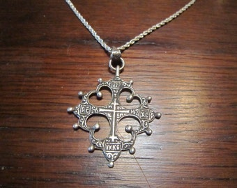 Sterling Antique Spanish Cross and Necklace