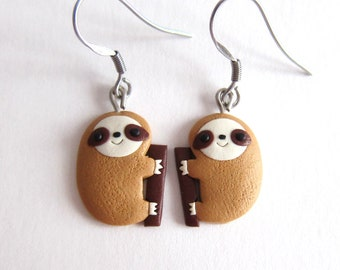 sloth earrings, sloth jewelry, gifts for kids, jewelry for kids, cute animals animal jewelry, emoji earrings, animal earrings, funny gifts