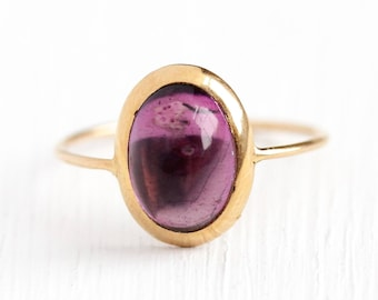 Sale - Antique Amethyst Ring - Antique 10k Rosy Yellow Gold Cabochon Stick Pin Conversion - Vintage Size 6 Edwardian Purple Gem Fine Jewelry