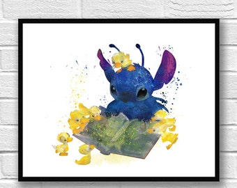 Stitch Art, Lilo & Stitch Watercolor Poster, Disney Art, Movie Poster, Wall Art, Kids Art, Ohana Poster, Home Decor, Kids Room Decor - 313