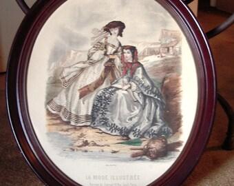 "Large Oval Frame Victorian Fashion Ladies ""La Mode Illustree"" Original 1800s Print  Item # 172 Victorian Collectables"