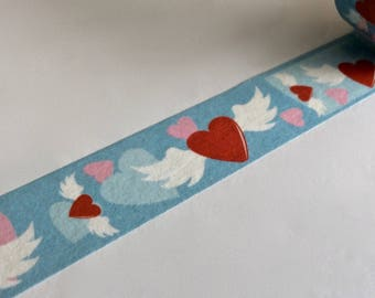 """SALE Heart Washi Tape """"Flying Hearts"""" 15mm x 10 Meters"""