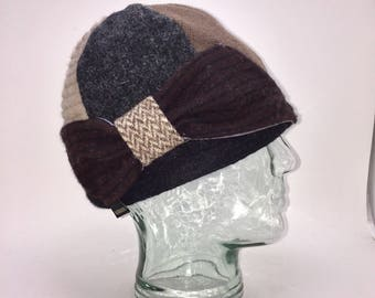 Baabaazuzu Upcycled Wool Felted Women's Bow Hat