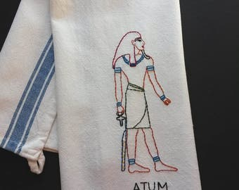 Embroidered Atum Egyptian god towel, Egyptologist gift, Egyptian God, history teacher gift, Egyptian mythology, Egyptian home decor