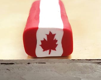 Canada Flag Cane, Red Maple Leaf Polymer Clay Cane, Canadian Raw Unbaked Clay