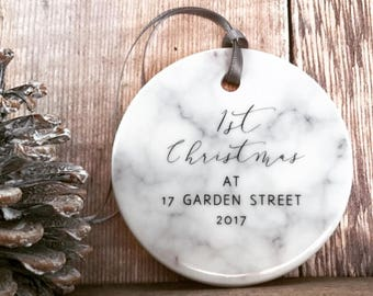 Personalised  First Christmas At Address Marble Style Ceramic Decoration Christmas Gift Keepsake Tree Ornament Bauble Decoration