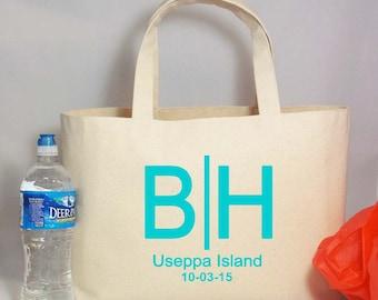 Set of 12 DESTINATION WEDDING LOGO Canvas Beach Tote Bag or Shopping Tote Bag, Custom Wedding Monograms