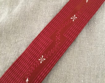 "Vintage Skinny Necktie 2"" / 1930s 1940s Rayon Tie / Chicago Fair Memorabilia / Red Art Deco / Dapper Mens Accessories / Hipster"