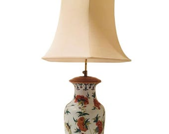 Chinoiserie Hand-Painted Ceramic Lamp with Shade