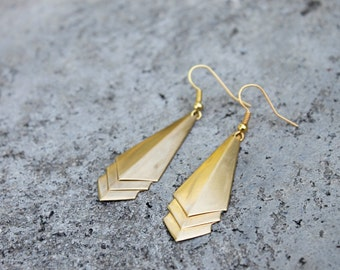 Geometric Brass Earrings // Chevron Earrings - Art Deco // Dangle Drop Earrings