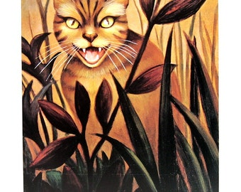 Cat Print - Angry Cat - 1985 Vintage Book Page - 9 x 12