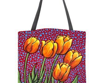Tulip Designer Shoulder Purse Shopper Tote Bag Personal Storage Gift Under 30 Garden Party Pouch Keeper Grocery Market Bag Overnight Bag