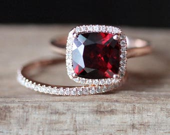 2pcs Garnet Engagement Ring Set VS 8mm Cushion Cut Garnet Ring Set Half Eternity Wedding Ring Set 14K Rose Gold Ring Set Birthstone Ring Set